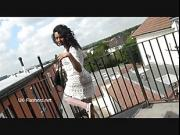 Teasing ebony voyeur Mels softcore exhibitionism and solo flashing black babe in the streets exposing ass and tits