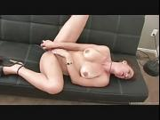 Cute brunette enjoys giving herself intense orgasms