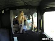 Hot blonde babe gets fucked anally in a taxi cab
