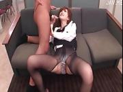 stocking hot OL hard sex on couch