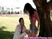 Model babes public banging by her stud in the park