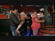 Huge boobs bbw have fun in the bar