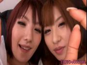 Asian redheads giving dude naked pov rubdown