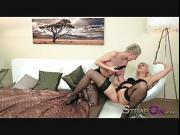 StrapOn Sensual lesbian love making with two hot blondes