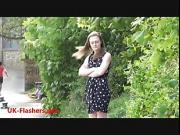 Sexy teen flasher Lauras amateur public nudity and voyeur exposure of small tits by young exhibitionist blonde babe outside