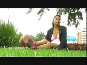Amateur latina Beatriz public nudity and squirting masturbation of chubby flashing south american babe outdoors toying and fingering herself for fun
