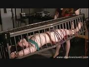 Slave Caroline Pierces cage bondage and lesbian bdsm of american submissive in hotwax pain and sadistic domination by mistress xinran