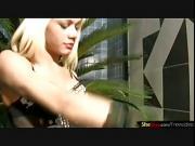 Blonde tranny in hot string bikini strokes her monstercock