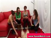 CFNM femdom babes in group tugging at party