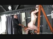 Spanked amateur slavegirl Beauvoirs hellpain whipping and strict dungeon bondage of private bdsm submissive in pain