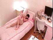 jap young chick masturbate on bed