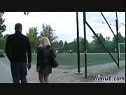 Horny European slut gets banged in the park