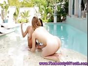 Young lesbo getting horny outdoor