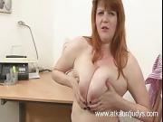 Lucy masturbates her mature snatch
