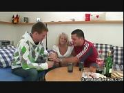 Two partying guys screw drunk blonde granny