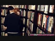 Hairy lesbian girls in book store