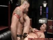 Gay hunk loves anal from the gay muscle as he bends over