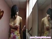 Attractive shemale tranny wanking off