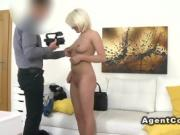 Busty blonde takes off underwear in casting
