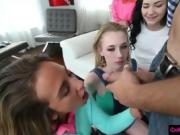 Four teen besties babysit a hard shaft