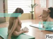 Pretty sweet babes yoga session while they are all nude