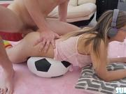 Hot blonde Aften Opal gets fucked while playing games