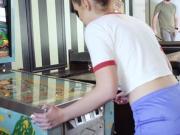 Redhead Scarlett Mae gets pussy rammed at the Arcade
