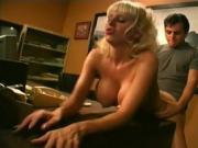 Big titted blonde takes his load down her throat