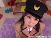 Hot cosplay Japanese teen gives a horny stud a kinky handjob