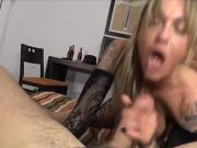 Wild Threesome With Tattoed Amateur Whore