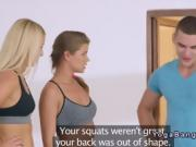 Sexy blondes gets cock from fitness coach