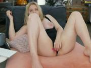 Blonde girl with big tits masturbates
