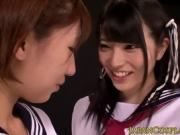 Nippon cosplay lesbians fingering hairy pussy