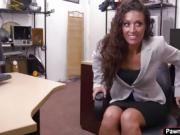 Sexy brunette lady getting fuck in the pawnshop for a laptop
