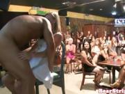 Amateur CFNM babes blowing stripper dick