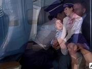 Chad White fucks Nikkis Knightly wet pussy in airplanes