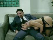 Busty latina rides boss and gets facialized by big dick in hd