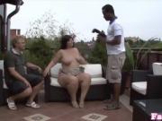 Curvy BBW interracially fucked outdoors until facial