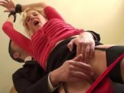 Tiedup brit sub fingerfucked before throated