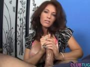 Bigtitted milf tugging and titfucking hard cock pov