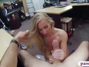 Tight blonde drilled by pawn dude in the back office