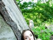 Hungarian student bangs huge cock in woods