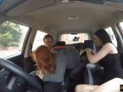 Sweet redhead babe Ella Hughes hard threesome in the car