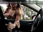 Latina girl masturbates a driver through the window