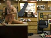 Busty tattooed woman nailed by pawn man at the pawnshop