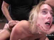 Blonde slave gets gangbang bondage