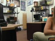 Woman with glasses nailed by pawn keeper in his office