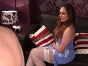 Stockinged CFNM Uk beauty instructs naughty sub to jerkoff