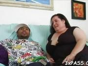 Slutty fat woman shows big body and fucks well with hot man