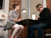 Kissable bookworm gets seduced and screwed by her older tutor